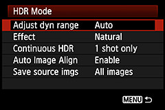 HDR Options on the Canon 5D Mk3
